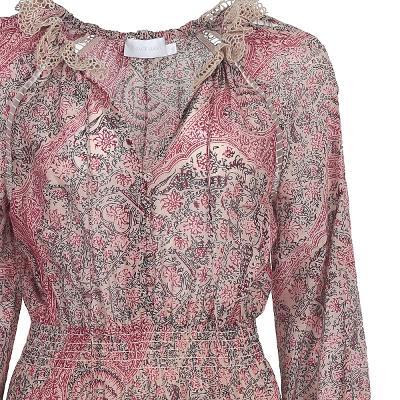 ethnic pattern lace ruffle dress